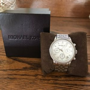 Michael Korn Pearl Face, Silver Watch